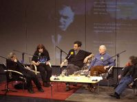 Poets Miloslav Topinka, Katerina Anghelaki-Rooke, Michael Hofmann, Hans Magnus Enzensberger and Michael March discussing in the theatre Minor, photo: CTK