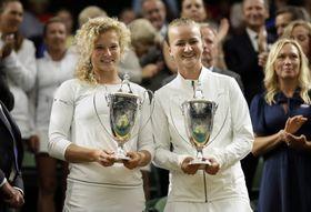 Kateřina Siniaková y Barbora Krejčíková, foto: ČTK / AP Photo / Tim Ireland