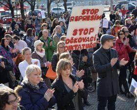 Demonstrace proti povinnému očkování, foto: ČTK