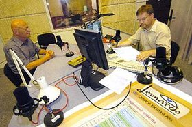 Vaclav Paces (left) in the Czech Radio studio, photo: CTK