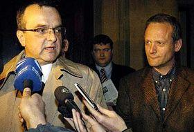 Presidente del democrisitano Partido Popular, Miroslav Kalousek (a la izquierda) y Cyril Svoboda (Foto: CTK)