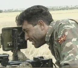 A Macedonian soldier on duty
