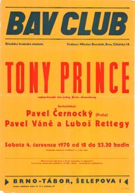 Poster for Tony Prince's appearance at the Bav club, photo: archive of Tony Prince