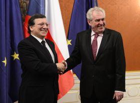 José Manuel Barroso, Miloš Zeman, photo: CTK