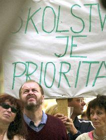 Layor huelga de maestros en la historia de la República Checa, ciudad de Olomouc, foto: CTK