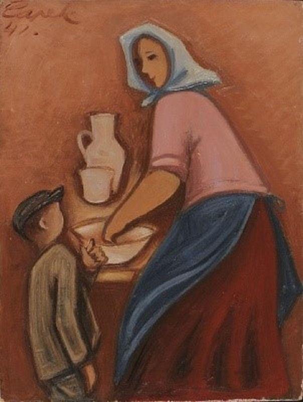 Josef Čapek, 'La mère avec un enfant', 1942, le dernier tableu de Josef Čapek, peint à Bergen-Belsen, photo: Galerie de l'arts plastiques à Ostrava