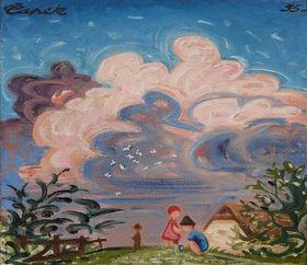Josef Čapek, 'Le nuage II, Les pigeons', 1935, source: Společnost bratří Čapků, public domain