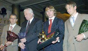 Desde la izquierda: Karel Poborský, Karel Brückner, Pavel Nedved y Tomas Jun (Foto: CTK)