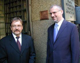 General director of Czech Radio, Vaclav Kasik and deputy minister of culture Zdenek Novak