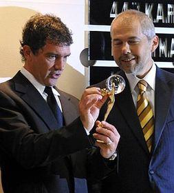 Antonio Banderas (left) and moderator Marek Eben, photo: CTK