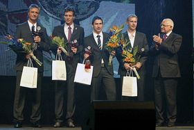 Coach Jaroslav Navrátil, Tomáš Berdych, Jan Hájek, Lukáš Dlouhý, Czech President Václav Klaus (left to right), photo: CTK