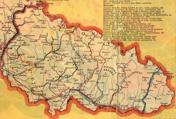 Mapa Podkarpatské Rusi z roku 1935