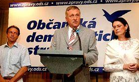 Vedoucí představitelé ODS (zleva) Pavel Bém, Mirek Topolánek aMiroslava Němcová, foto: ČTK