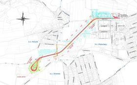 Straßenbahntrasse Barrandov-Slivenec (Quelle: Archiv der Prager Verkehrsbetriebe)