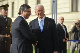 Jan Fischer et Joe Biden, photo: CTK