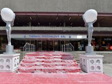 A small version of the red carpet at the Karlovy Vary Thermal Hotel draws attention to the canceled film festival, photo: ČTK/Slavomír Kubeš