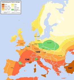 Ausbreitung der Pest in Europa zwischen 1347 und 1351 (Quelle: Roger Zenner, Wikipedia Commons, CC BY-SA 2.0 DE)