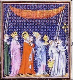 Cortège à Cambrai pour honorer l'empereur Charles IV, accompagné de son fils Wenceslaus IV, roi de la Bohême, (Paris, Bibliothèque nationale)