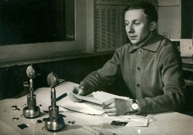 Oldřich Číp in a studio of Radio Prague, photo: archive of HFCC
