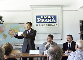 Miroslav Krupicka (standing on left), director of Radio Prague
