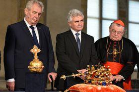 Президент Милош Земан, глава Сената Милан Штех и пражский архиепископ Доминик Дука, Фото: ЧТК