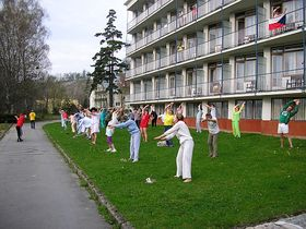 Exercises on the hotel lawn