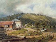 Šebetov na Blanensku na konci 19. století, obraz od Gottfrieda Seelose