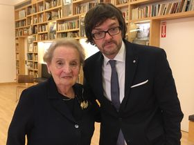 Madeleine Albright with Radio Prague's Ian Willoughby at the Bohemian National Hall in New York, photo: archive of Ian Willoughby