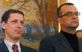 Primer ministro, Stanislav Gross y el líder demócrata cristiano, Miroslav Kalousek (Foto: CTK)