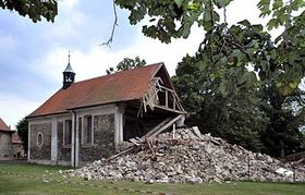 The collapsed tower of the church of St. Simon and St. Jude in Lenešice, photo: CTK