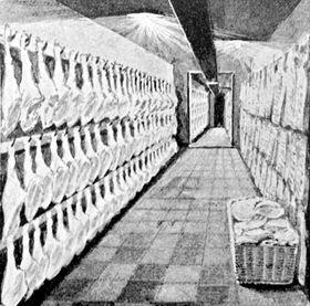 Výroba pražské šunky v19. století, foto: Public Domain