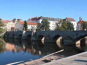 Stone bridge in the southern Bohemian town of Pisek