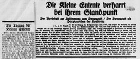 """Die sogenannte """"Kleine Entente"""" in der damaligen Presse"""