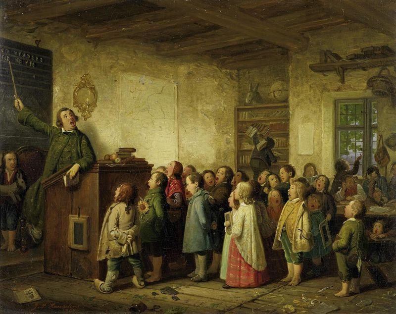 Obraz Johanna Petera Hasenclevera znázorňuje typickou výuku ve střední Evropě vpolovině 19. století