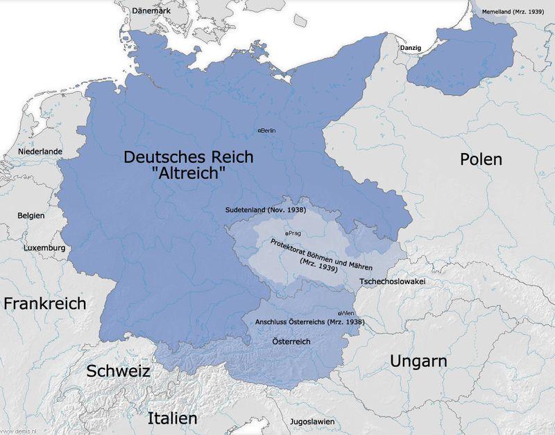 Le Troisième Reich en 1939, source: Fj-de, public domain