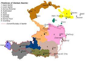 Gebietsstand der Republik aufgrund des Gesetzes der provisorischen Nationalversammlung Deutschösterreichs vom 22.11.1918 (Quelle: Wikimedia Commons Free Domain)