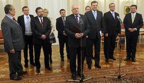 Václav Klaus con el Gobierno, foto: ČTK