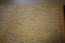 Запись в метрической книге о награждении Бенито Муссолини, Фото: Эва Туречкова, Чешское радио - Радио Прага