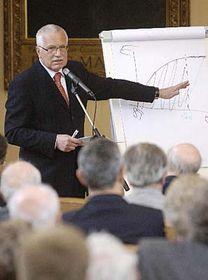 Václav Klaus na shromáždění České učené společnosti, foto: ČTK