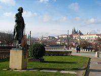 The statue of Antonin Dvorak in Jan Palach Square