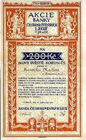 Aktie der Legiobank (Foto: Archiv ČNB)