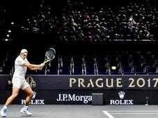 Rafael Nadal v Praze při tréninku před prvním ročníkem Laver Cupu, foto: ČTK