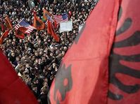 An estimated 1,000 Kosovo Albanians participate in a pro-independence rally in Kosovo's capital Pristina, photo: CTK