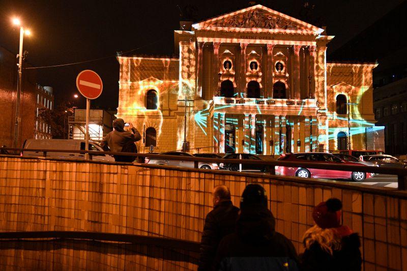 Součástí znovuotevření Státní opery byl videomapping, foto: ČTK / Michal Kamaryt