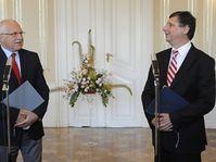 Václav Klaus et Jan Fischer, photo: CTK