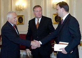 Zleva: Václav Klaus, Mirek Topolánek aPetr Nečas, foto: ČTK