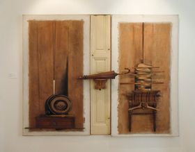 Pocta Marcelu Duchampovi, 1980, asambláž, 180x230cm, foto: Miroslav Krupička