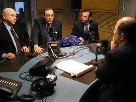 Freddy Valverde y sus invitados en Radio Praga,  Frank Calzón, Carlos Alberto Montaner y Matías Jove  (Foto: Carlos González-Shánel)