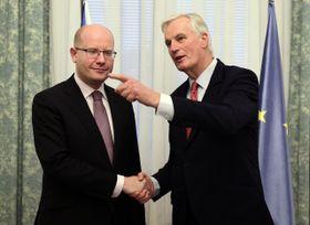 Bohuslav Sobotka y Michel Barnier, foto: ČTK