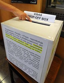 The box at the Canadian embassy in Prague for collecting visa aplications to be sent to Canadian embassy in Vienna, Austria, photo: CTK